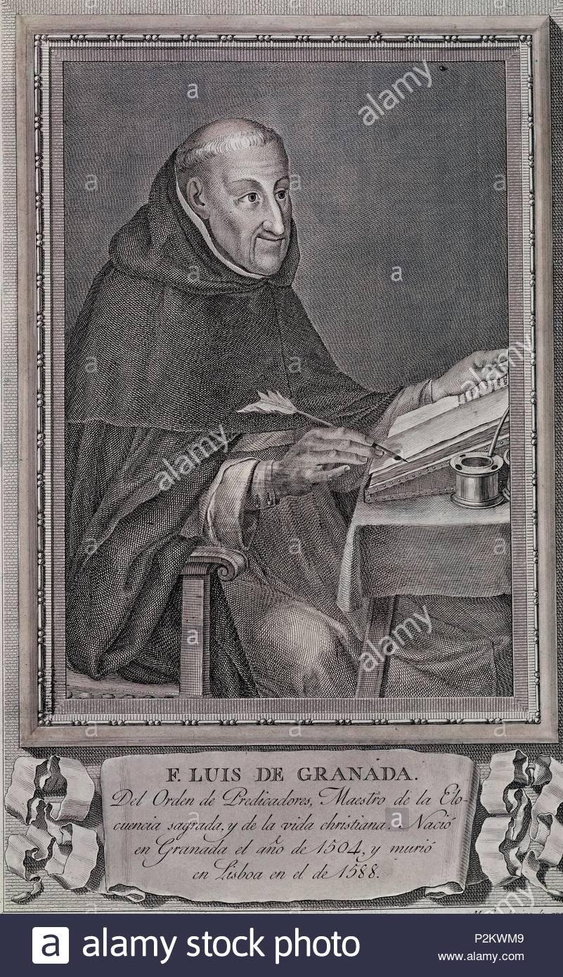 FRAY LUIS DE GRANADA (1504/88) ESCRITOR ASCETICO ESPAÑOL, DIBUJO DE MAEA, BURIL 35x26, COBRE, NºINV 3122. Author: Miguel Gamborino (1760-1828). Location: CALCOGRAFIA NACIONAL, MADRID. - Stock Image