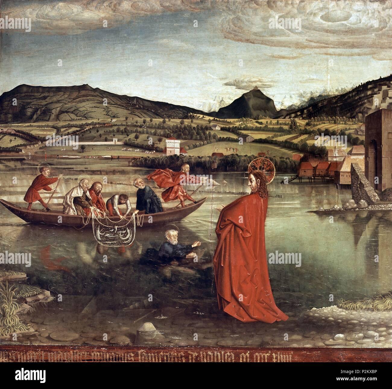 LA PESCA MILAGROSA-MILAGRO DE JESUS. Author: Konrad Witz (c. 1400-c. 1446). Location: MUSEO DE ARTE E HISTORIA, GENÈVE, SWITZERLAND. - Stock Image