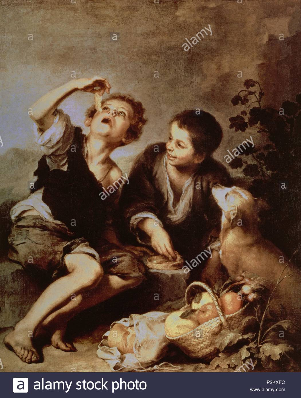 Children Eating A Pie 167075 123x102 Cm Oil On Canvas - Pasteles-nios