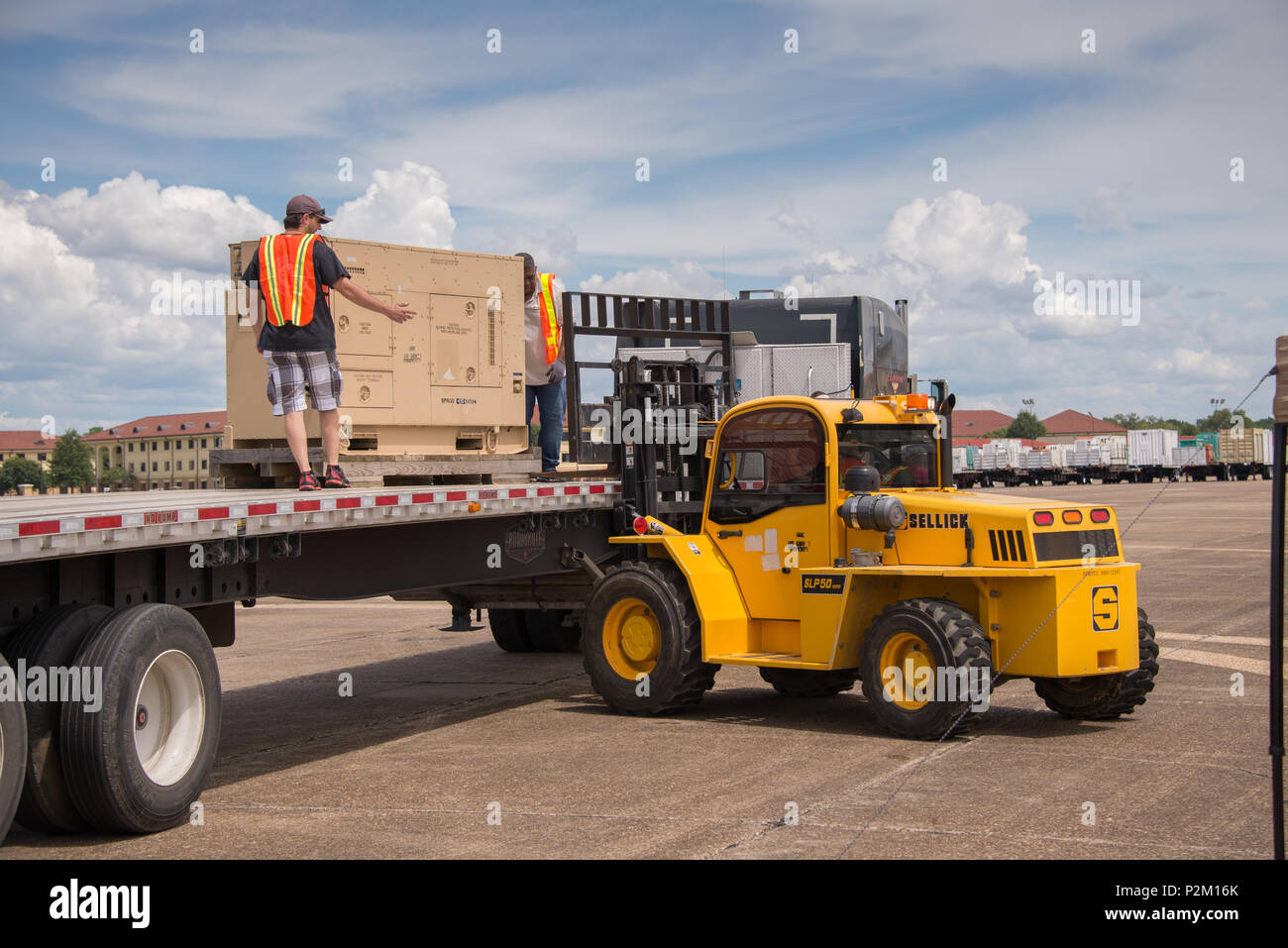 Maxwell, Ala. - A generator is unloaded at Maxwell AFB in preparation for Tropical Storm Hermine, Sep. 1, 2016. (US Air Force photo by Trey Ward/Released) - Stock Image
