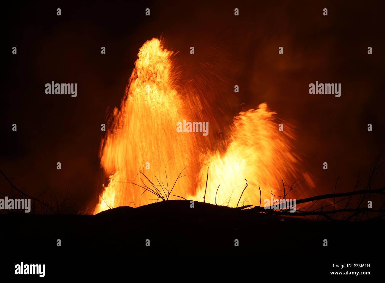 Volcanic eruption of Kilauea volcano in Hawaii at the end of May 2018, Fissure 8 - Stock Image