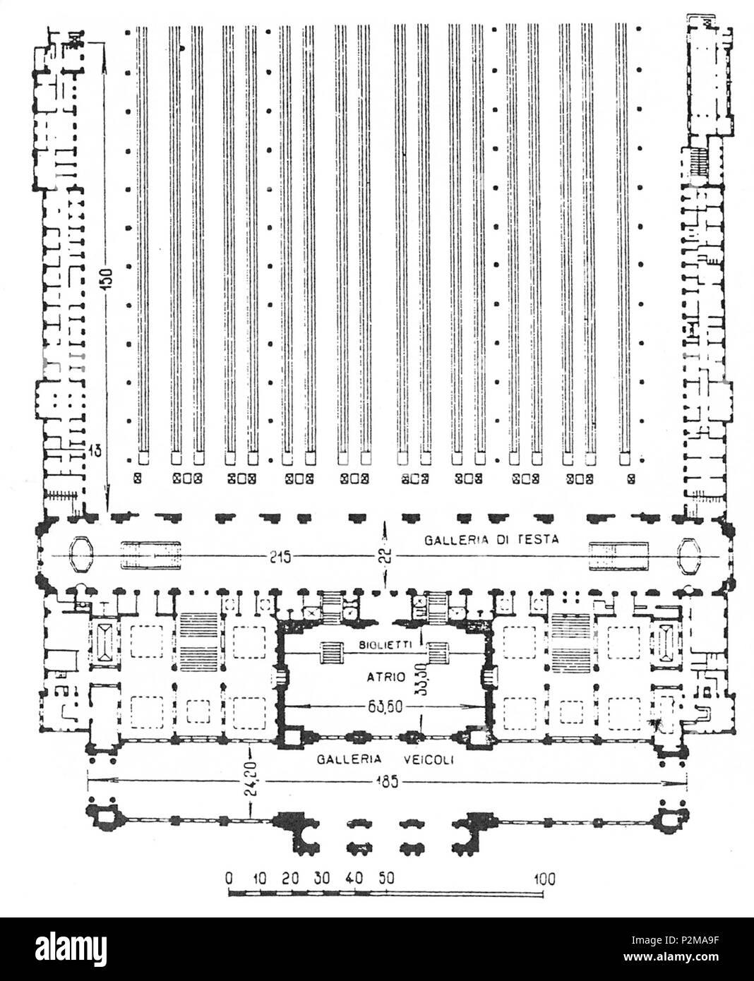 . Italiano: Stazione ferroviaria di Milano Centrale, pianta del fabbricato viaggiatori al piano dei binari . Unknown date. ca. 1931 70 Pianta FV Milano Centrale - Stock Image