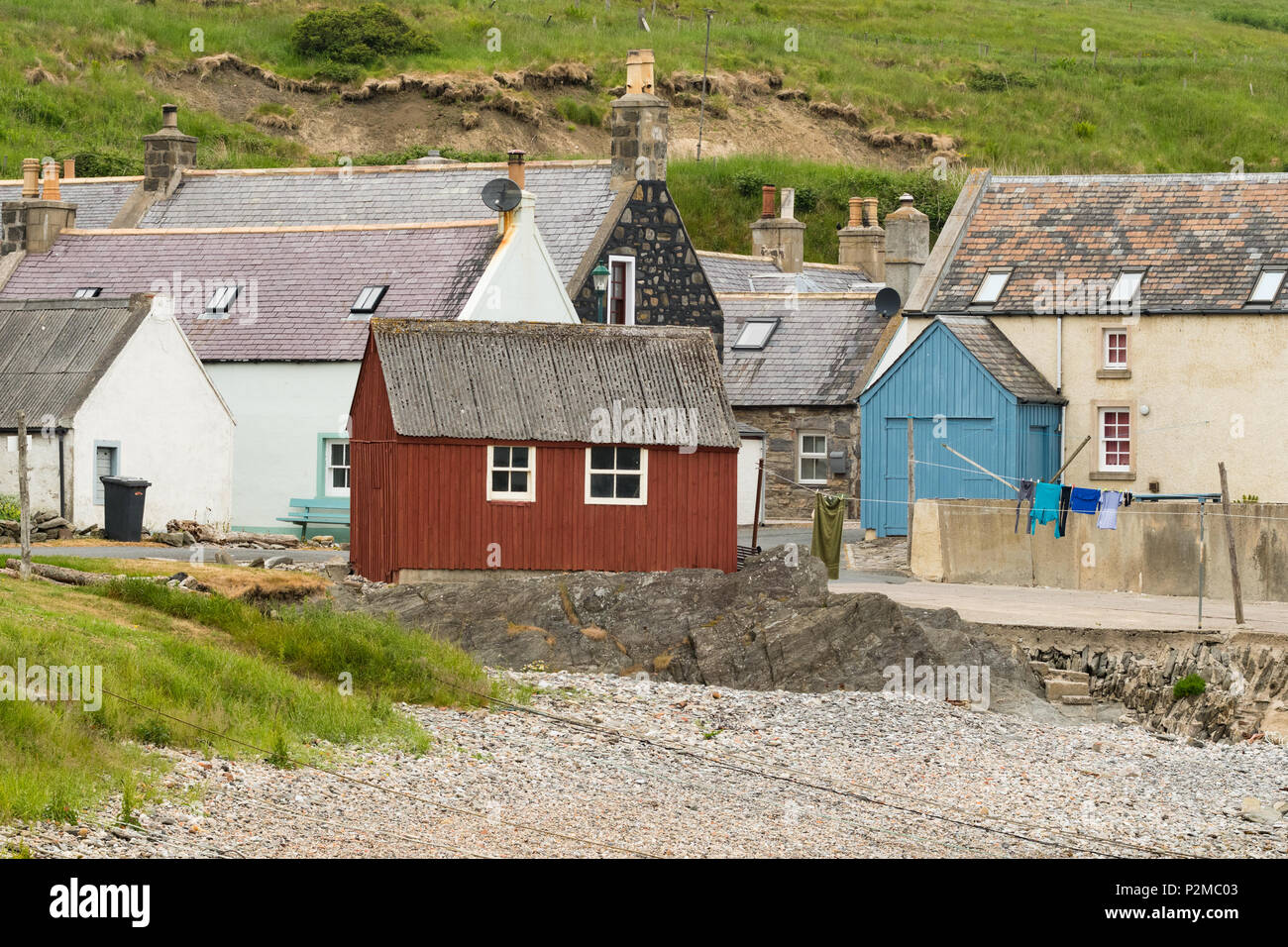 Sandend harbour.  Sandend is an old fishing village on the Moray Firth Coast, Aberdeenshire, Scotland, UK - Stock Image