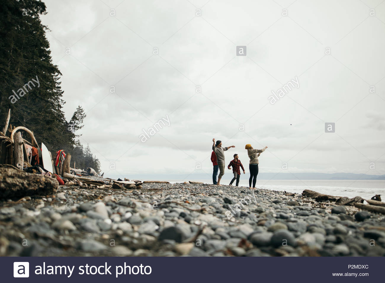 Friends throwing rocks on rugged beach - Stock Image