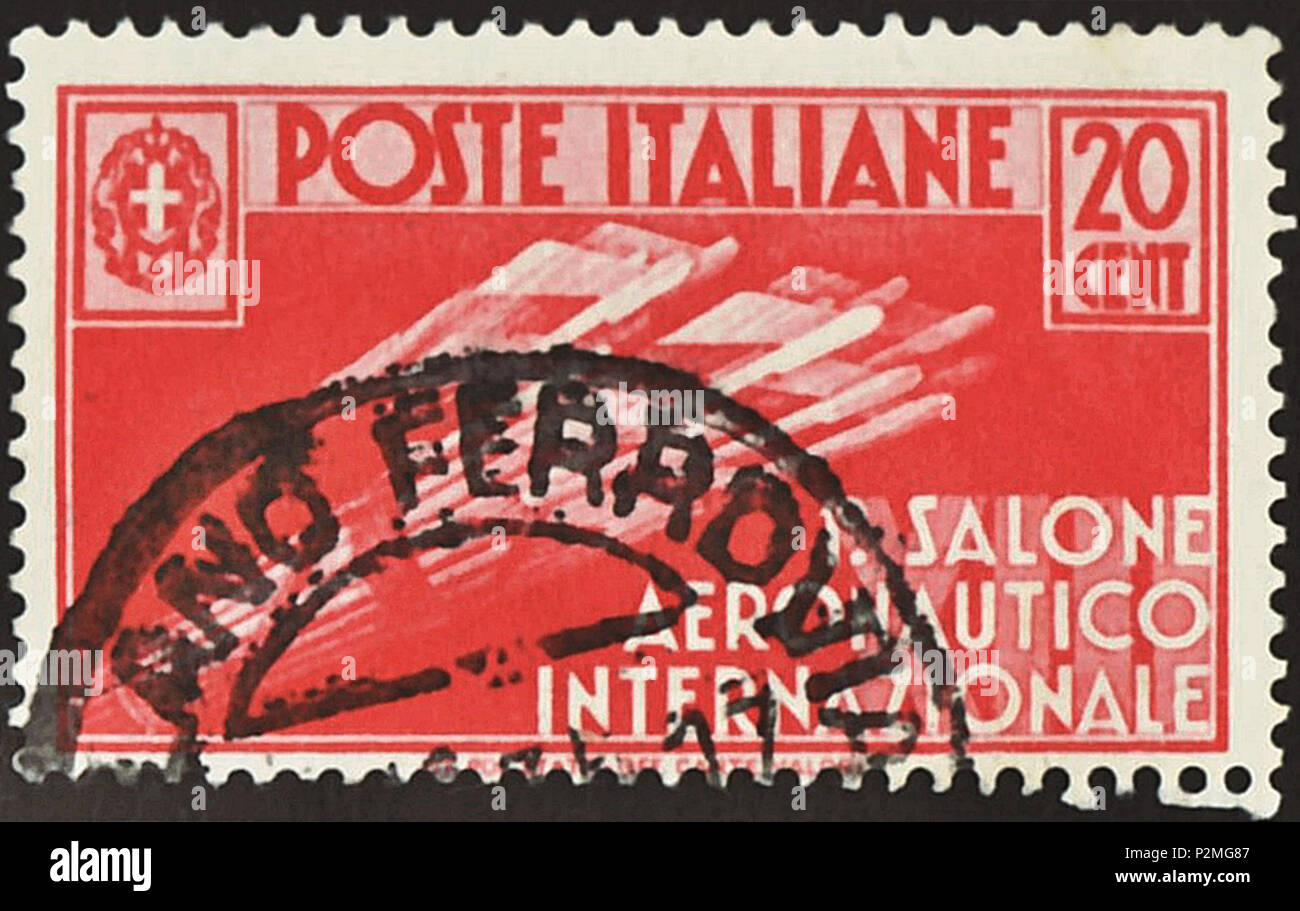 Stamp Of The Kingdom Italy 1935 Commemmorative To 1st International Aeronautical Salon Held In Milan Drawing Emblem