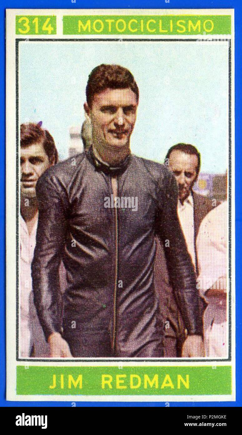 . Figurina/Sticker CAMPIONI DELLO SPORT 1967/68 n. 314 - REDMAN -MOTOCICLISMO-Rec . 1967 or earlier. Unknown 44 Jim Redman 1967 Stock Photo