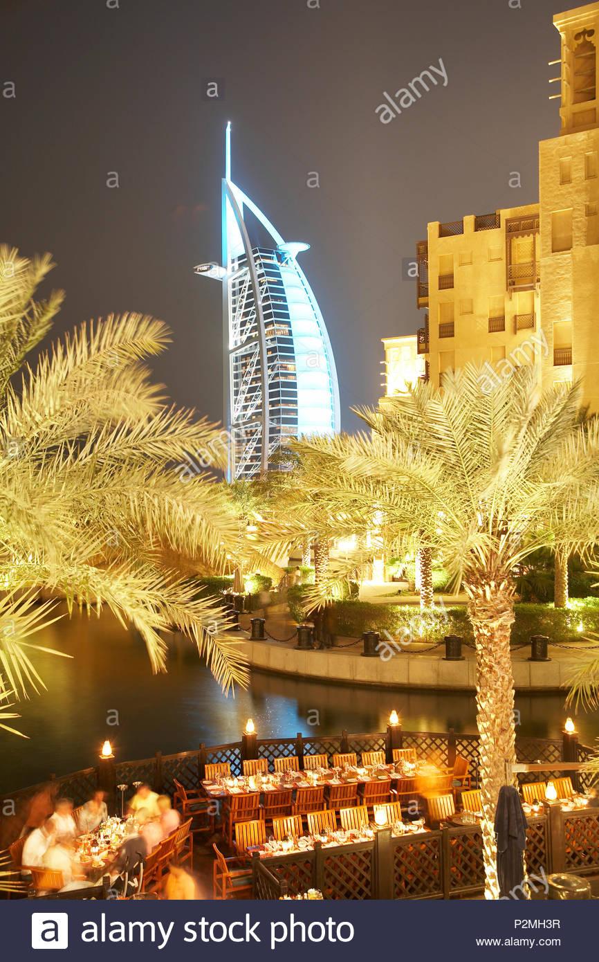 Madinat Jumeirah, luxury resort at Jumeirah beach, like a town with Arabian flair with markets, hotel, resort, luxury, Dubai, Un Stock Photo