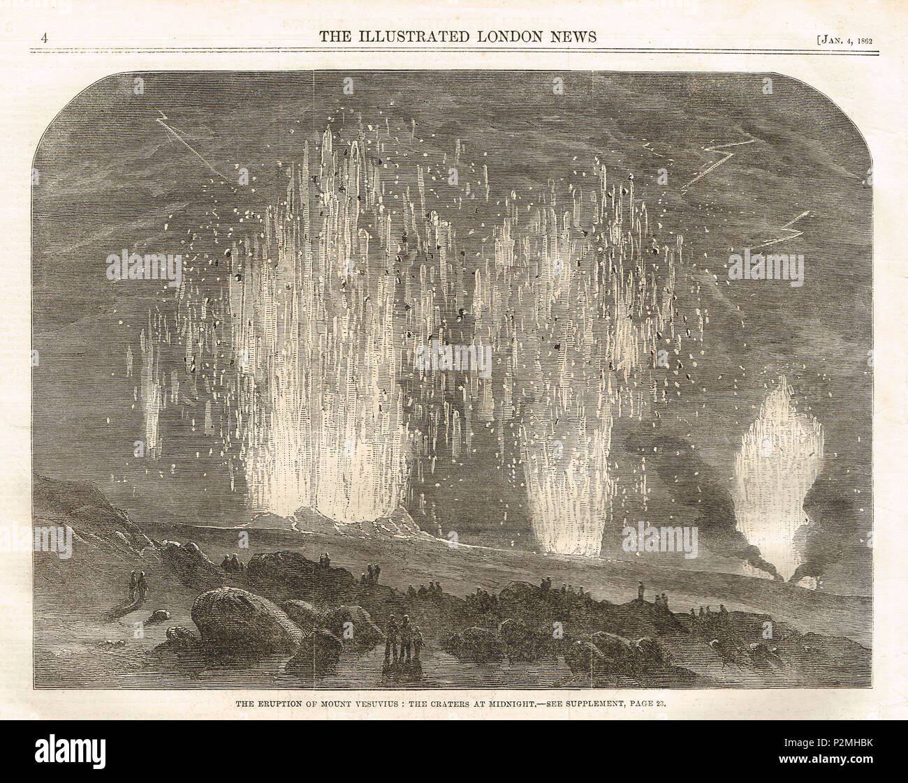 Eruption of Mt Vesuvius, December 1861 - Stock Image