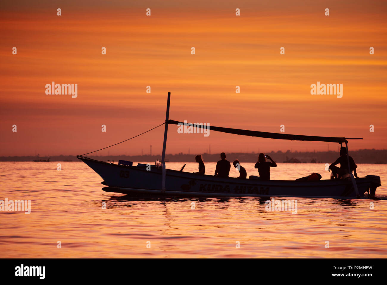 Excursion boats, dolphin watching in the morning, Lovina, Bali, Indonesia - Stock Image