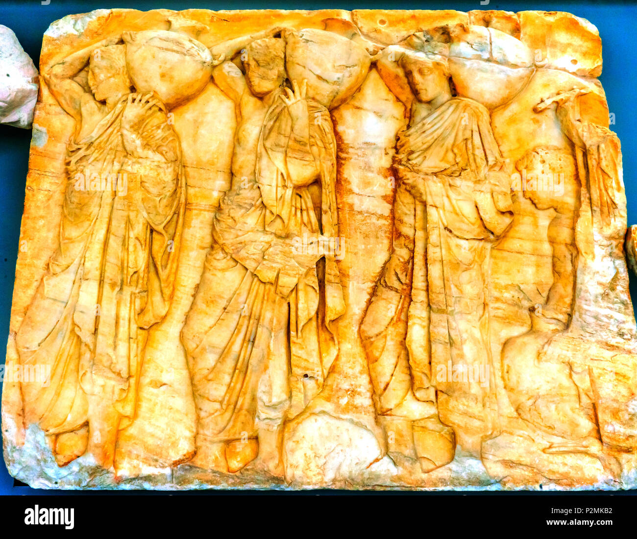Worshipers Carying Offerings to Temple Marble Panel Parthenon Acropolis Athens Greece.  Parthenon created 438 BC and is symbol of ancient Greece. Pane - Stock Image