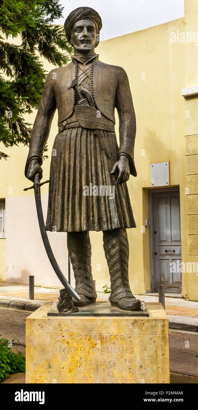 General Yannis Makriyiannis Statue Acropolis Athens Greece.  General Makriyiannis was a famous Greek independence fighter and later author. - Stock Image