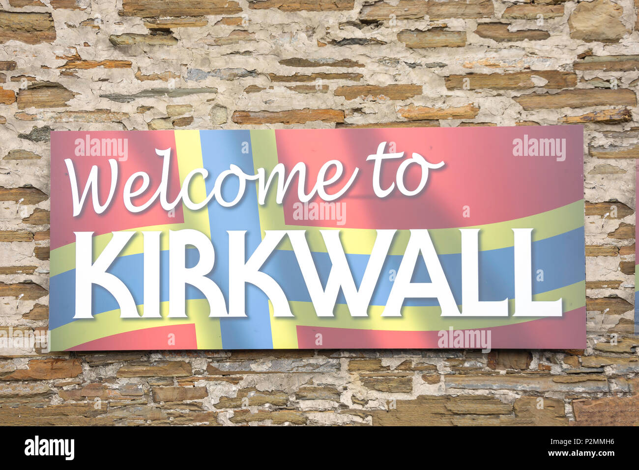 'Welcome to Kirkwall' sign at bus station, Kirkwall, Mainland, Orkney Islands, Northern Isles, Scotland, United Kingdom - Stock Image