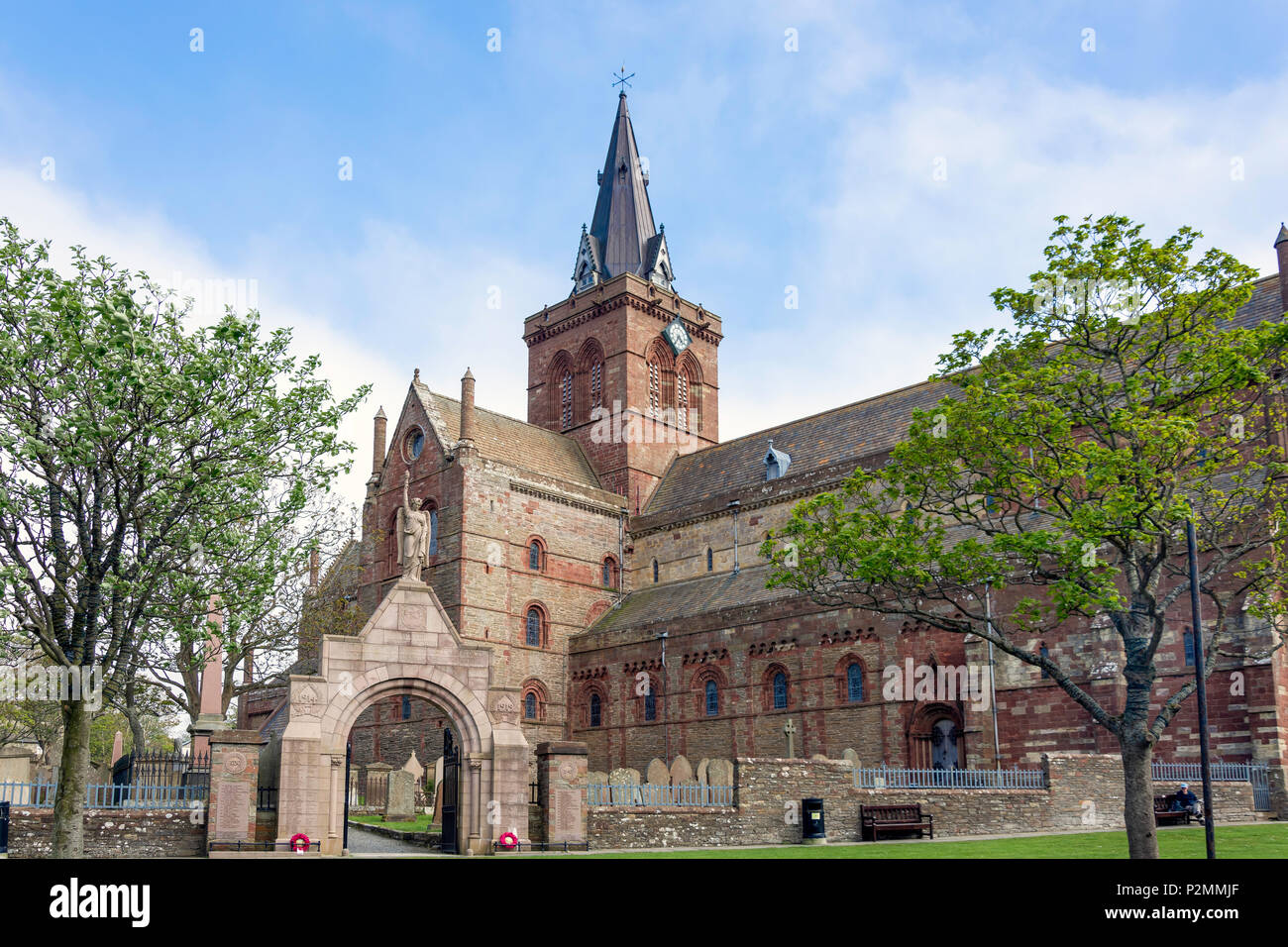 St Magnus Cathedral, Broad Street, Kirkwall, Mainland, Orkney Islands, Northern Isles, Scotland, United Kingdom - Stock Image