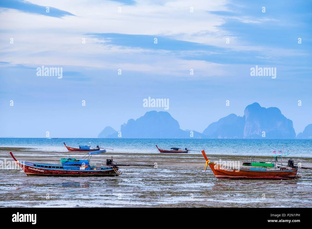 Thailand, Trang province, Ko Mook island, eastern coast, traditional long tail boats - Stock Image