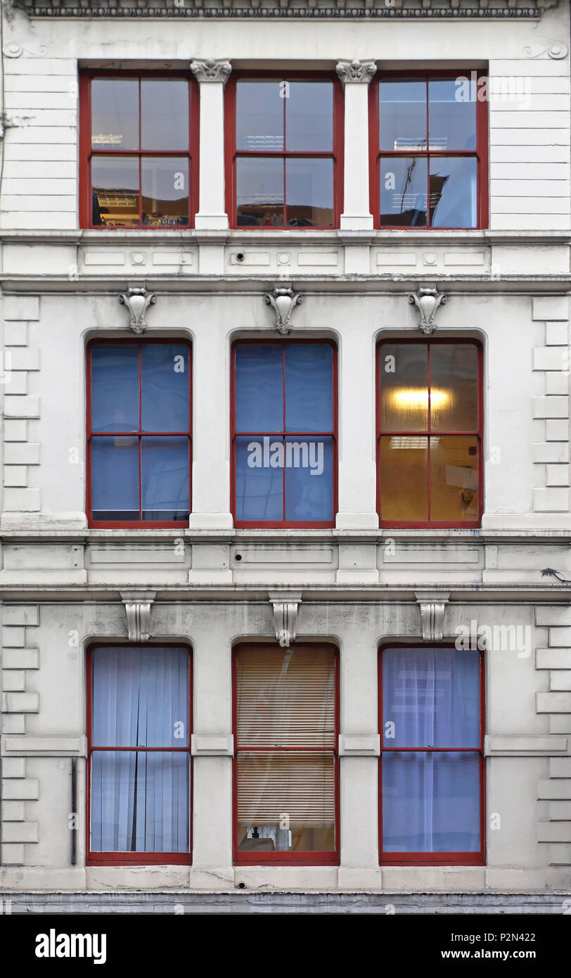 Nine Windows at Old Building in London - Stock Image