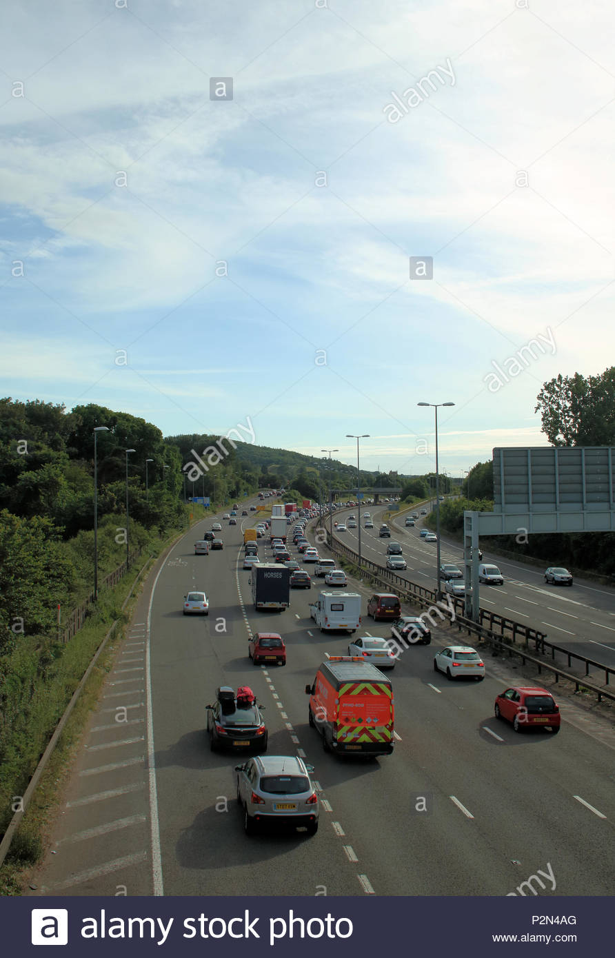 Friday Traffic, around Gordano Services on the M5 motorway, Portishead, UK
