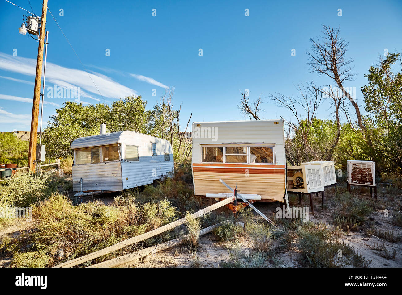 Picture of an abandoned travel trailer park, USA. Stock Photo