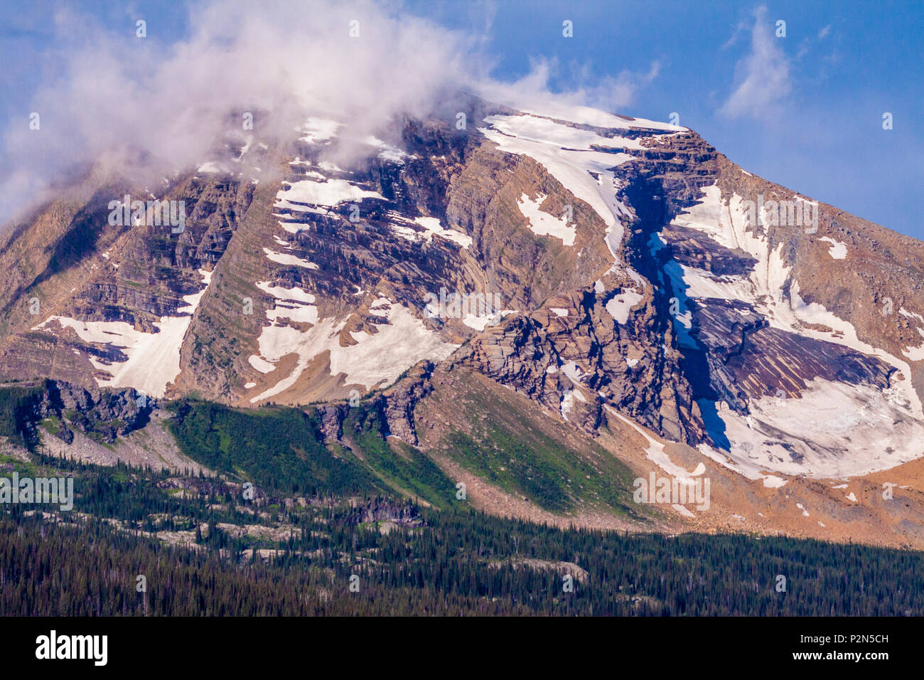 Heaven's Peak Mountains in Glacier National Park in Montana. - Stock Image