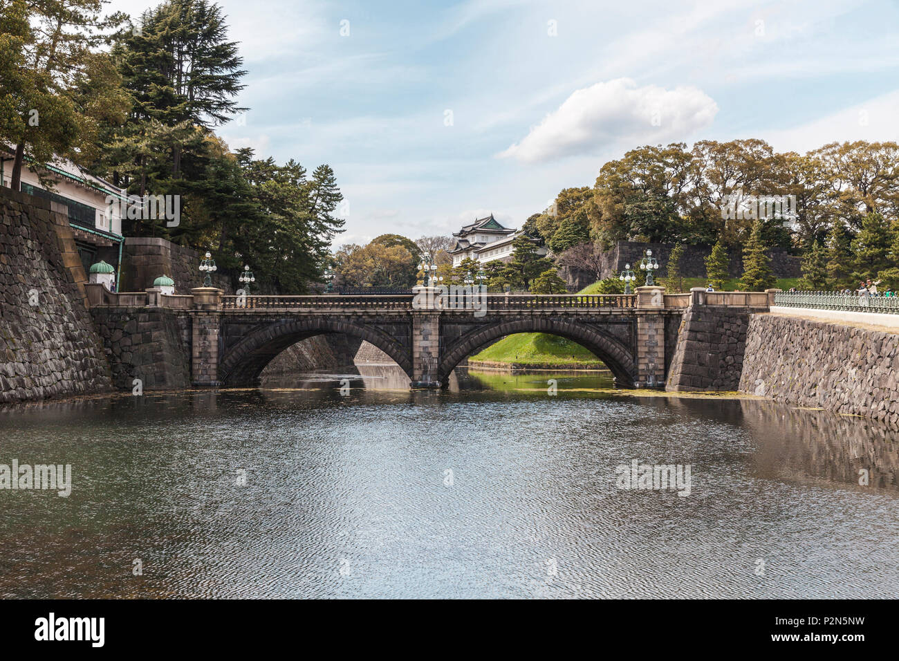 Nijubashi Bridge and Fushimi-Yagura Tower of Imperial Palace, Chiyoda-ku, Tokyo, Japan - Stock Image