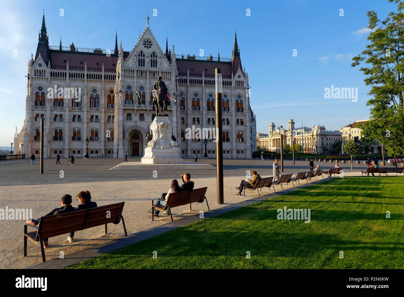 Budapest, Hungary, area classified as World Heritage, equestrian statue of Count Gyula Andrássy near the Hungarian Parliament Building Stock Photo