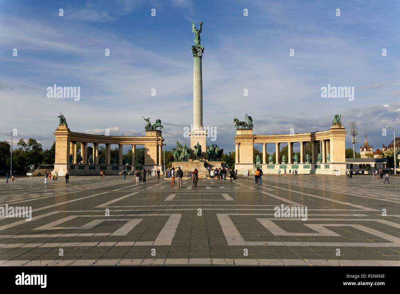 Budapest, Hungary, area classified as World Heritage, the Heroes' Square (Hosok tere), the Millennium Monument built from 1896 to 1922 and composed of a gallery of semi-circular colonnades containing the statues of seven Magyar kings - Stock Image