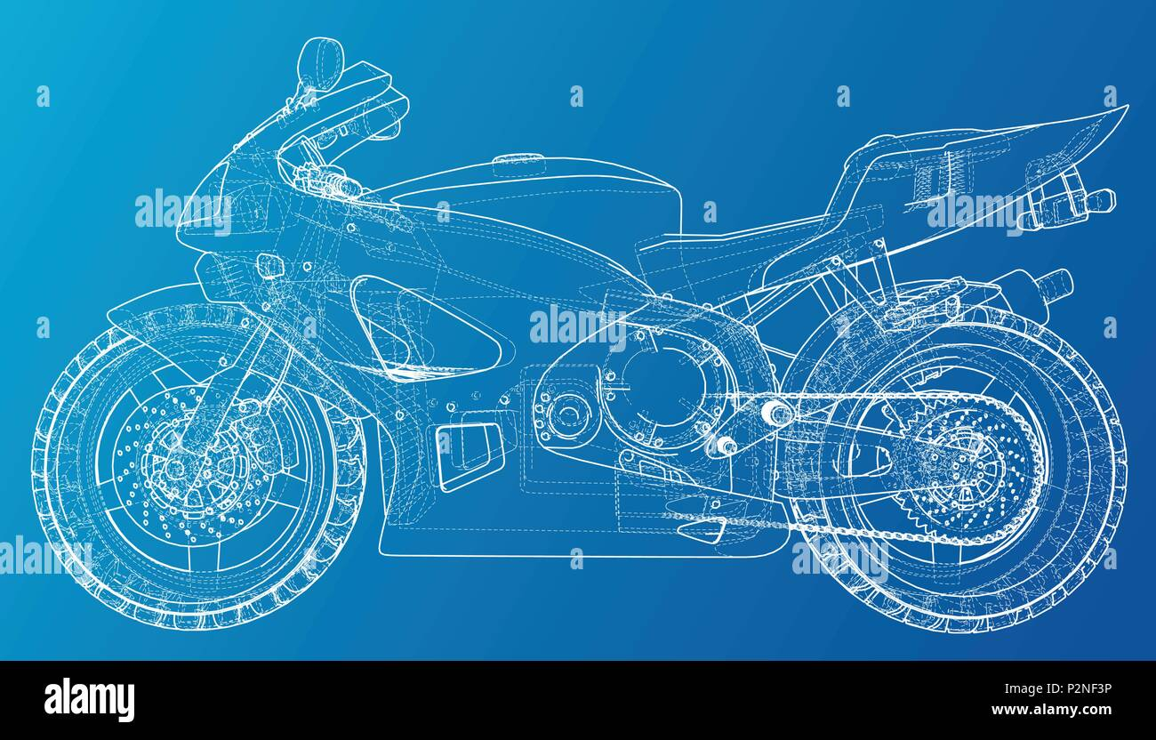 Sport Motorbike technical wire-frame. Vector rendering of 3d Stock ...