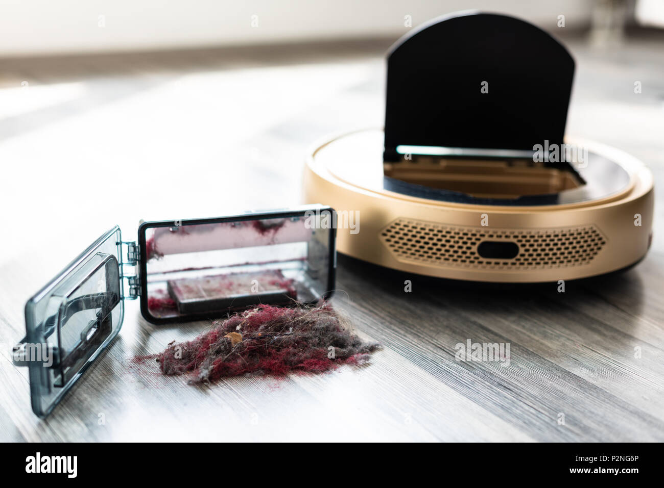robotic vacuum cleaner on wood floor with emptied dirt container Stock Photo