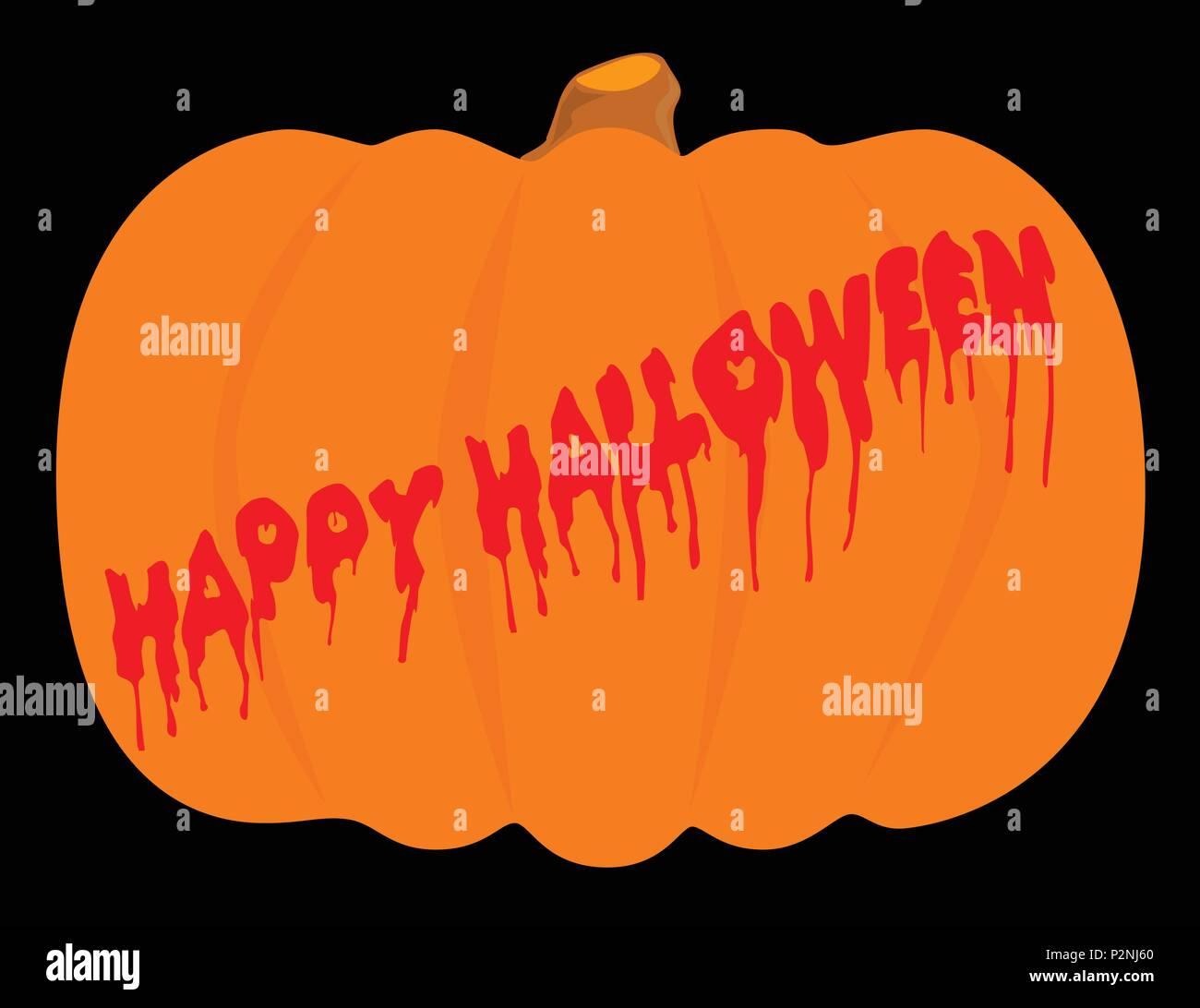 evil halloween pumpkin with blood running halloween message stock