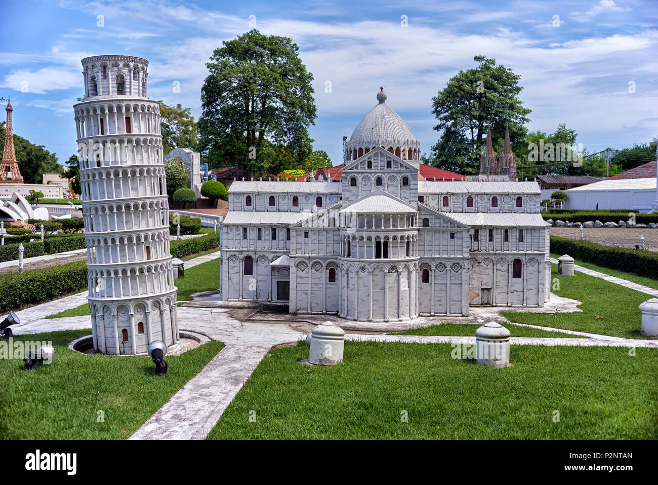 Leaning Tower of Pisa and Pisa cathedral.  Miniature scaled models of World iconic venues at Siam Mini World Pattaya Thailand. S. E. Asia. - Stock Image