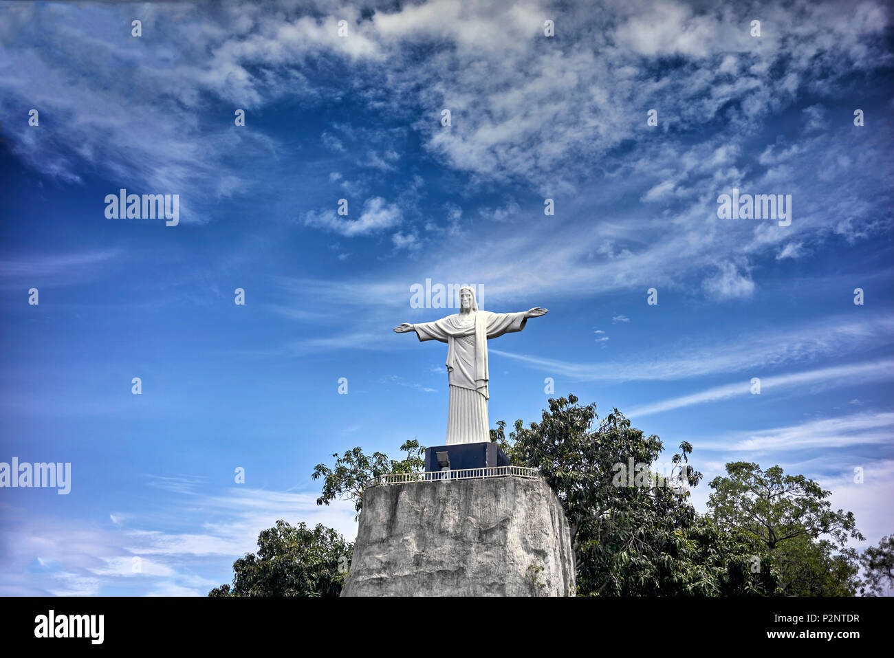 Christ the Redeemer, Miniature scaled models of World iconic venues at Siam Mini World Pattaya Thailand. S. E. Asia. - Stock Image