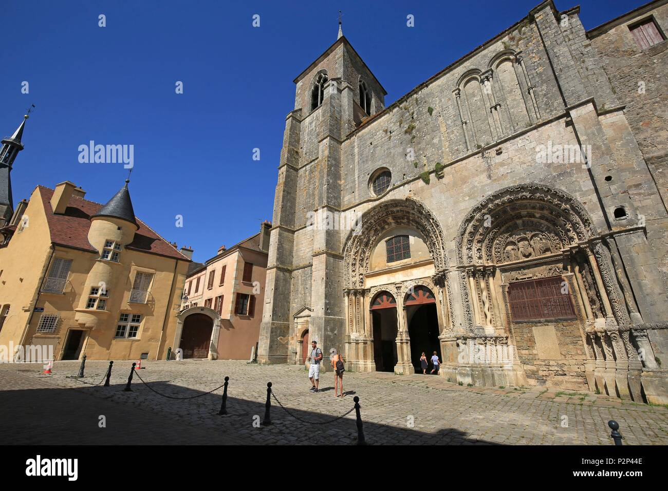France, Yonne, Morvan region, Avallon, The church of Saint Lazare, Its architecture is Romanesque and its portal dates from the twelfth century It is dedicated to Saint Lazarus - Stock Image