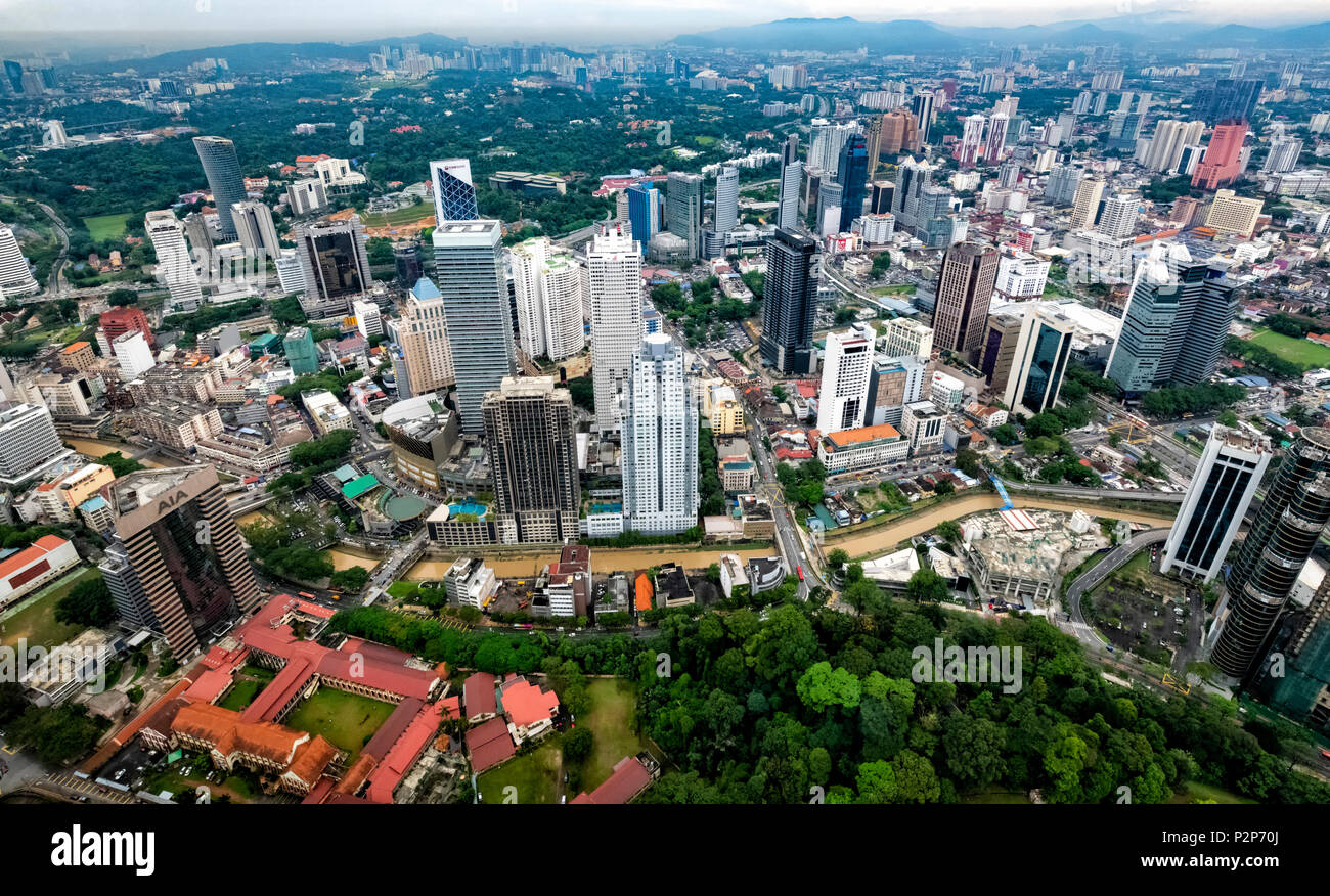 Aerial view of Kuala Lumpur city in Malaysia as seen from the top of the KL Tower - Stock Image