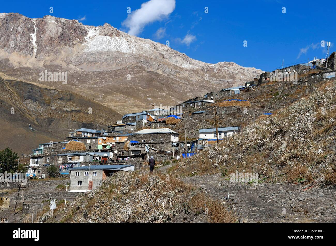Azerbaijan, Quba (Guba) region, Greater Caucasus mountain range, village of Khinalug (Xinaliq) - Stock Image