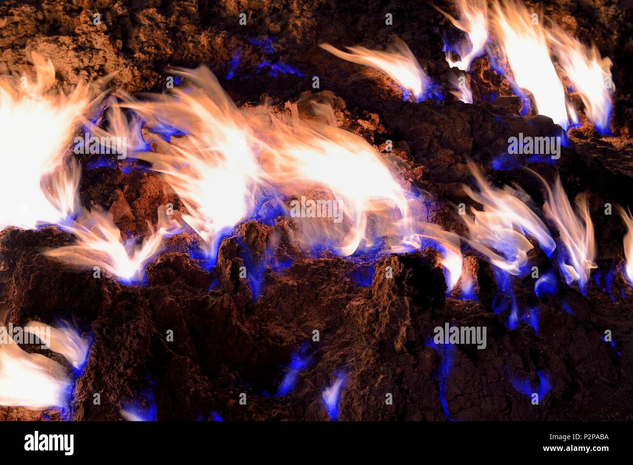 Azerbaijan, Baku, Absheron Peninsula, Yanar Dag meaning burning mountain is a natural gas fire which blazes continuously on a hillside Stock Photo