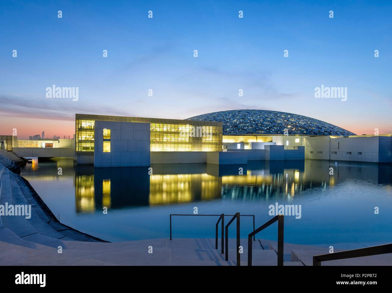 United Arab Emirates, Abu Dhabi, Saadiyat island, the Louvre Abu Dhabi is the first universal museum in the Arab world designed and built by French architect Jean Nouvel - Stock Image