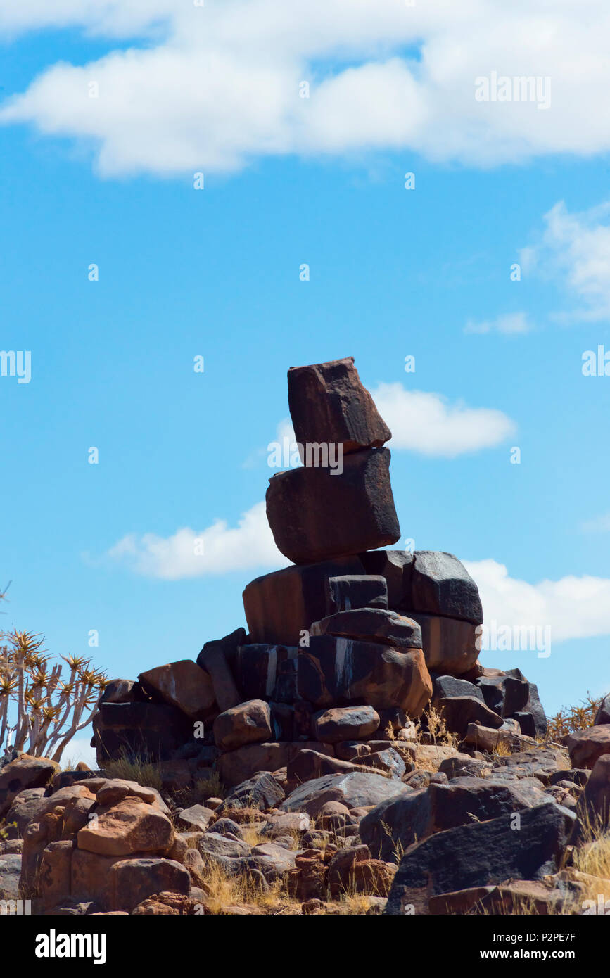 Quiver trees and rock piles in Kalahari Desert, Karas Region, Namibia - Stock Image