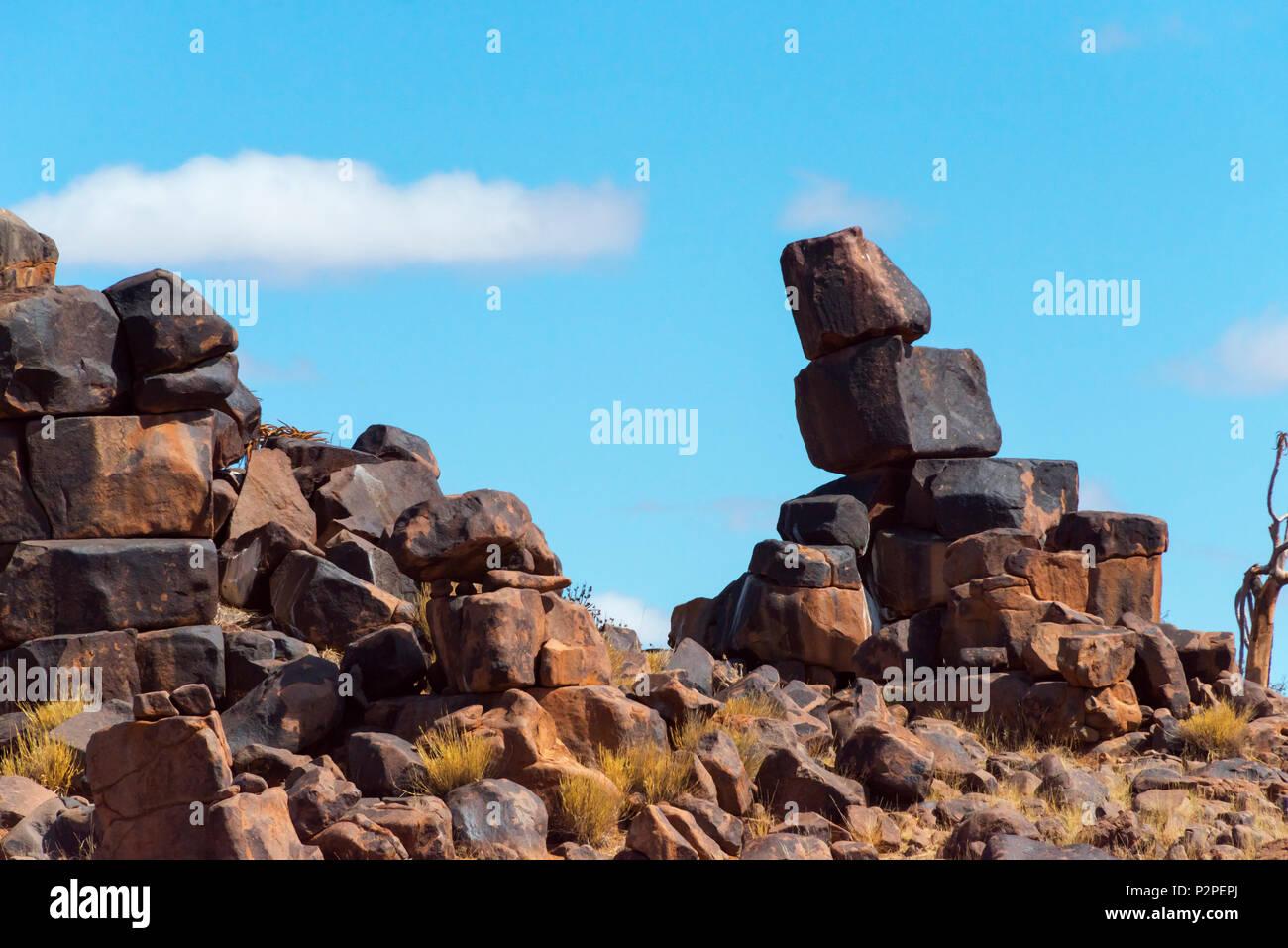 Rock piles in Kalahari Desert, Karas Region, Namibia - Stock Image