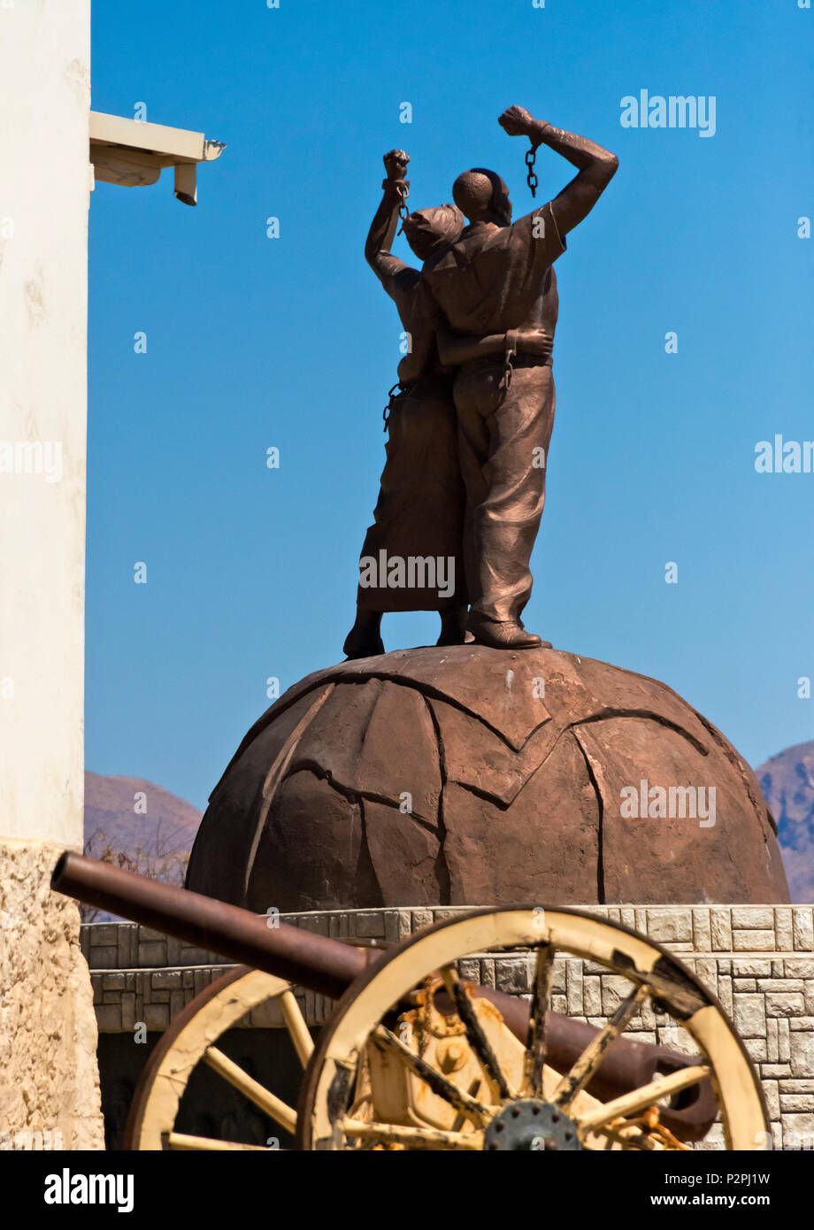 Statue in front of National Museum of Namibia, Windhoek, Khomas Region, Namibia - Stock Image