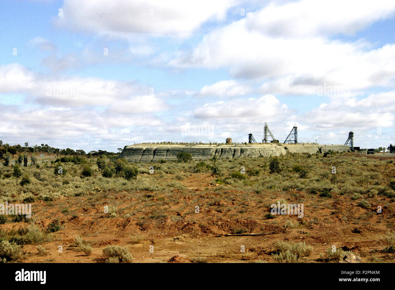 View of a gold mine in Kalgoorlie, an area often referred to as the Golden Mile and was once referred to as the world's richest square mile. WA. - Stock Image