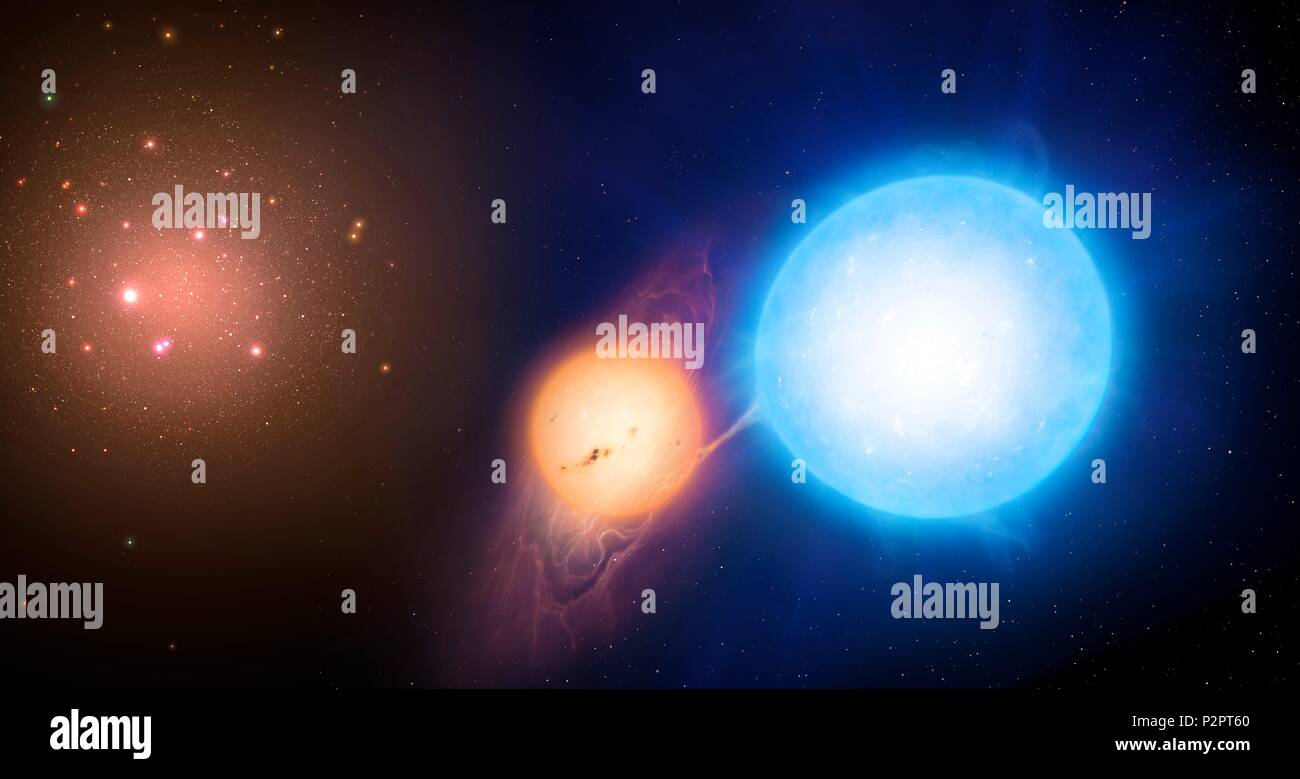 Illustration of a binary star on the outskirts of a globular cluster. Recent studies of such binaries by astronomers at Warwick University, UK, suggest that globular clusters could be 4 billion years younger than thought. - Stock Image