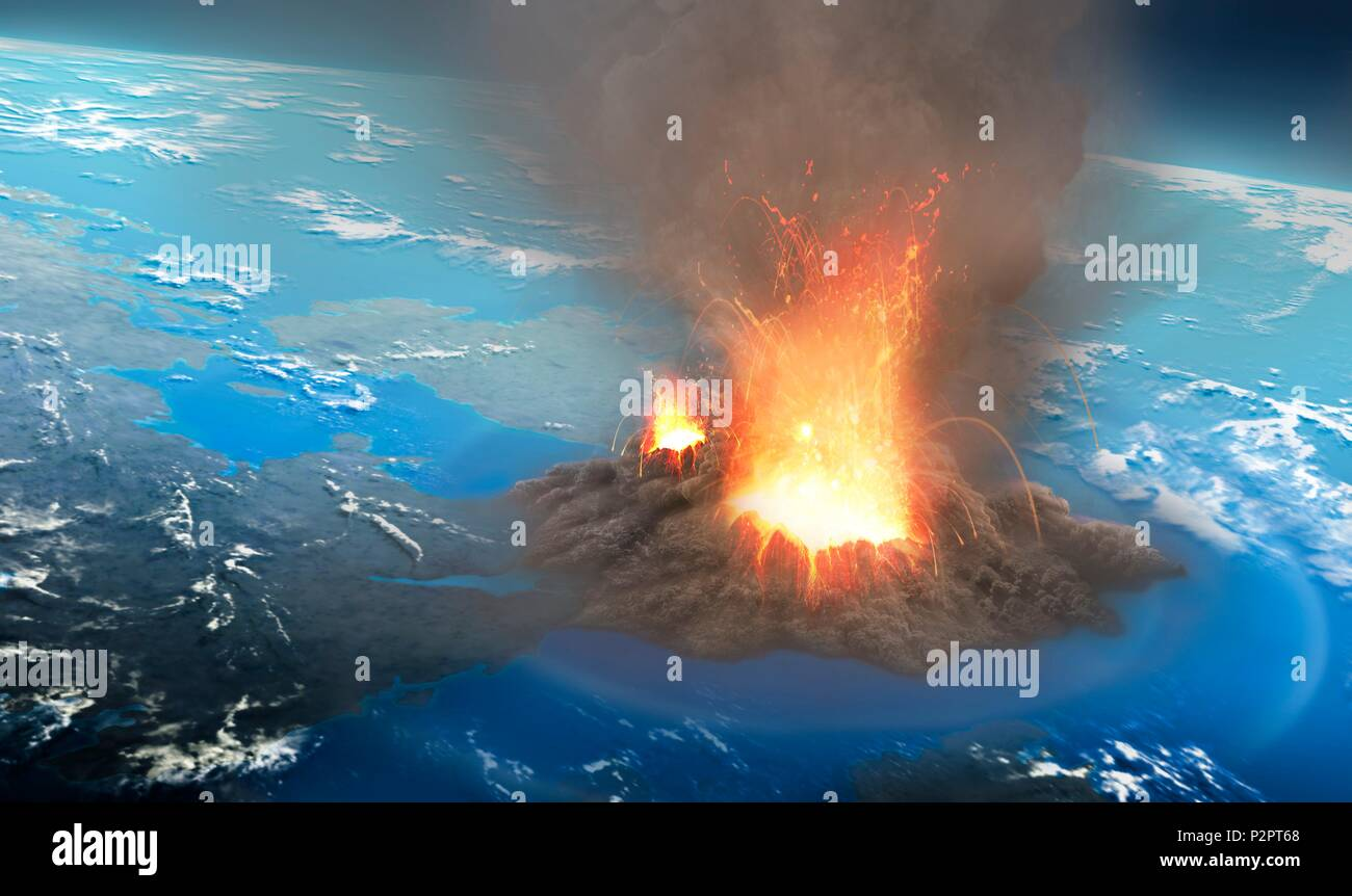 Illustration of an ultra-plinian volcanic eruption seen from an altitude of around 40 km. These eruptions form ash clouds that can reach tens of kilometres into the sky. Eventually the ash cloud collapses, sending avalanches of dust, ash and incandescent rock away from the eruption site at high speeds, hugging the ground in a so-called pyroclastic flow. - Stock Image