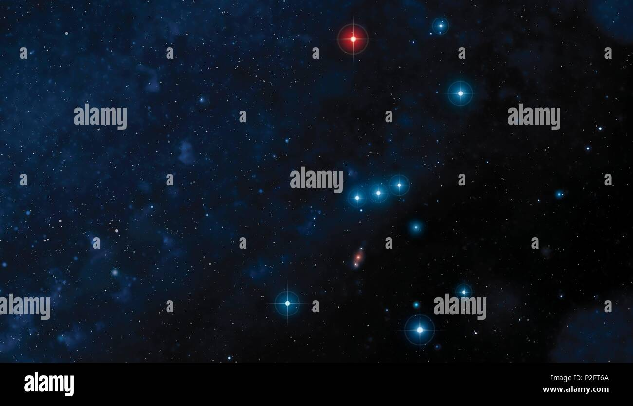 Illustration of the constellation of Orion, one of the most conspicuous in the night sky. Situated on the celestial equator, Orion is visible from most parts of the world. - Stock Image