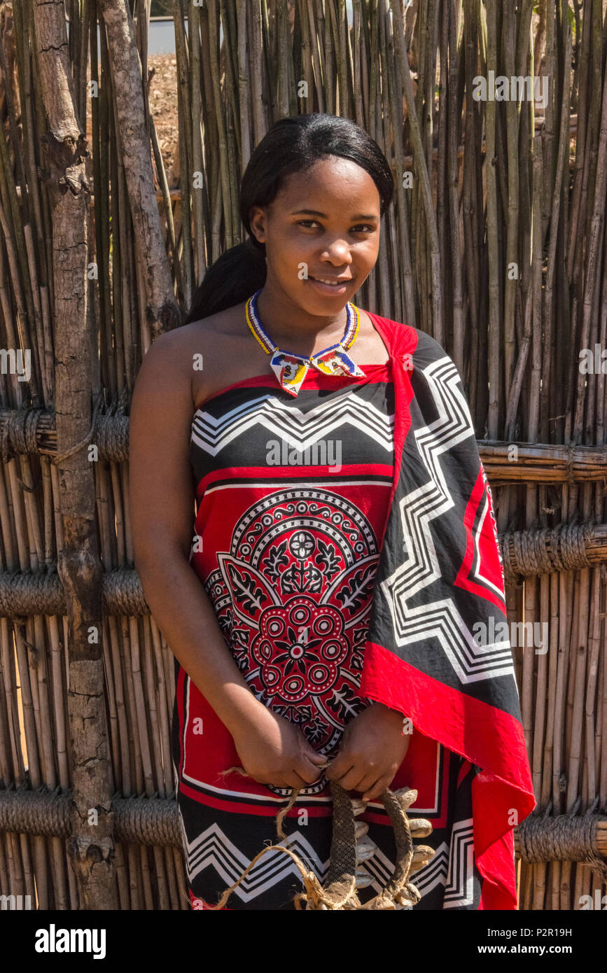 Swazi girl in traditional clothing, Mantenga Cultural Village, Swaziland - Stock Image