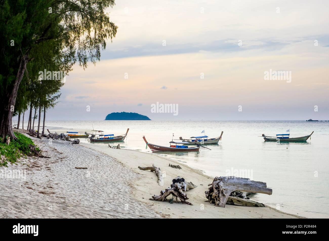 Thailand, Satun province, Tarutao National Marine Park, Ko Adang island, traditional long tail boats on Laem Son beach - Stock Image
