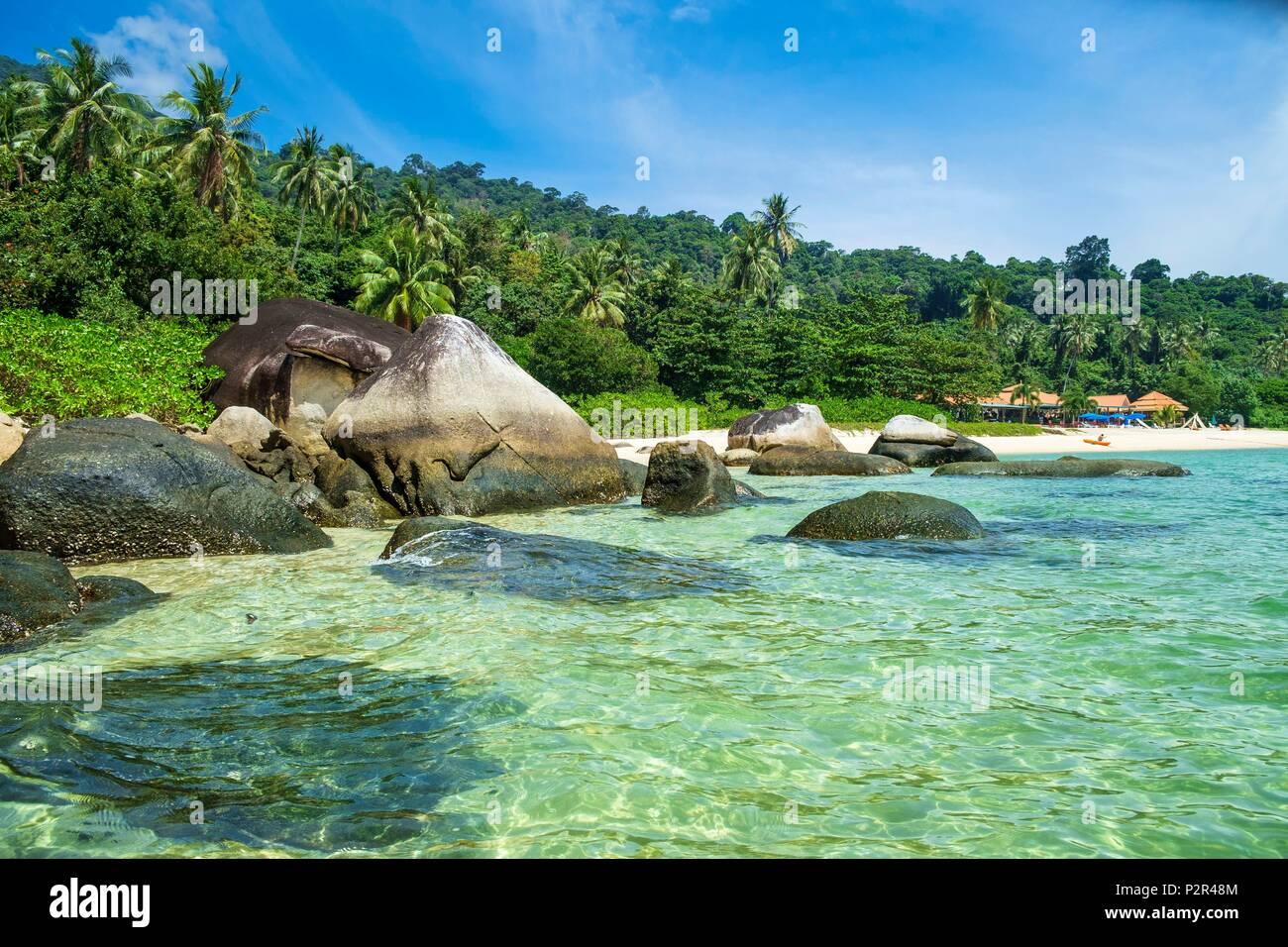 Thailand, Satun province, Tarutao National Marine Park, Ko Adang island, the beach of Adang Resort hotel - Stock Image