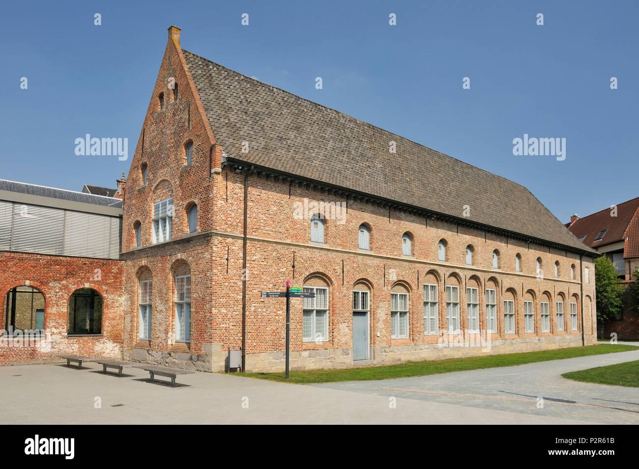 Belgium, Province of West Flanders, Kortrijk, Begijnhof Sint Elisabeth Begijnhof in Kortrijk, old building housing the exhibition on the Battle of Kortrijk from 1302 - Stock Image