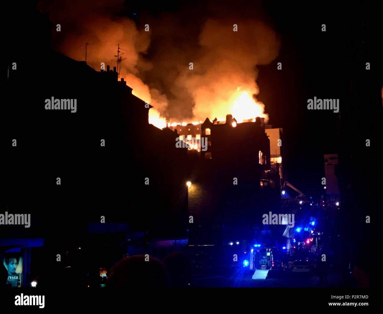 Glasgow, Scotland, UK. 15th June, 2018. The Glasgow School of Art, Mackintosh building caught fire late Friday night about 11:20 PM. More than 120 firefighters and 20 fire engines responded to the fire. Credit: News Pictures/Alamy Live News - Stock Image