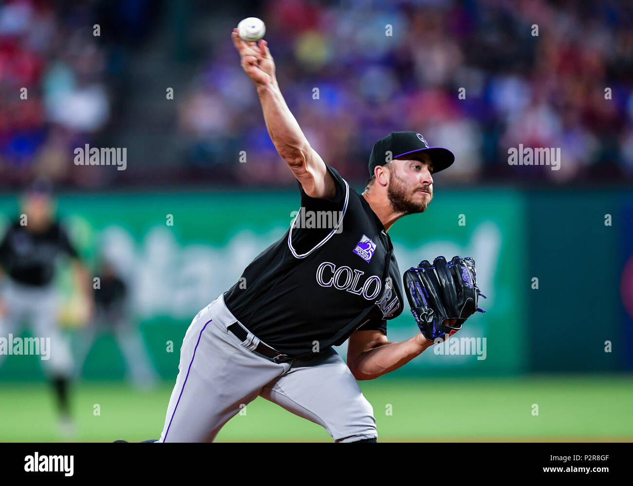 fc498c9ffd65f Colorado Rockies starting pitcher Chad Bettis (35) on the mound during a  game between the Colorado Rockies and the Texas Rangers at Globe Life ...