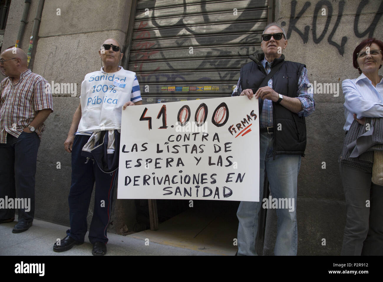 June 14, 2018 - Madrid, Spain - 41,000 signatures against waiting lists and health referrals..Delivery of 41 000 signatures against waiting lists and referrals from public health to private healthcare. (Credit Image: © Lito Lizana/SOPA Images via ZUMA Wire) - Stock Image