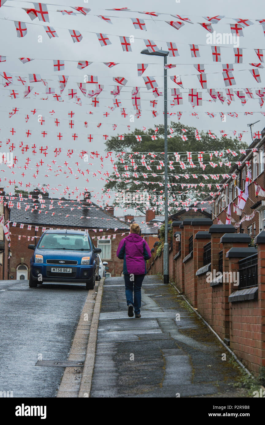 Saddleworth, UK. 16th Jun, 2018. Wales Street in Oldham, Greater Manchester, renamed as 'England Street' for the duration of the 2018 FIFA World Cup, Credit: Matthew Wilkinson/Alamy Live News - Stock Image